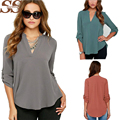 2016 New Fashion Style Blusas Sexy Women V-neck Chiffon Blouse Casual Sleeve Solid Shirts Tops Size S-5XL Feminina Camisas