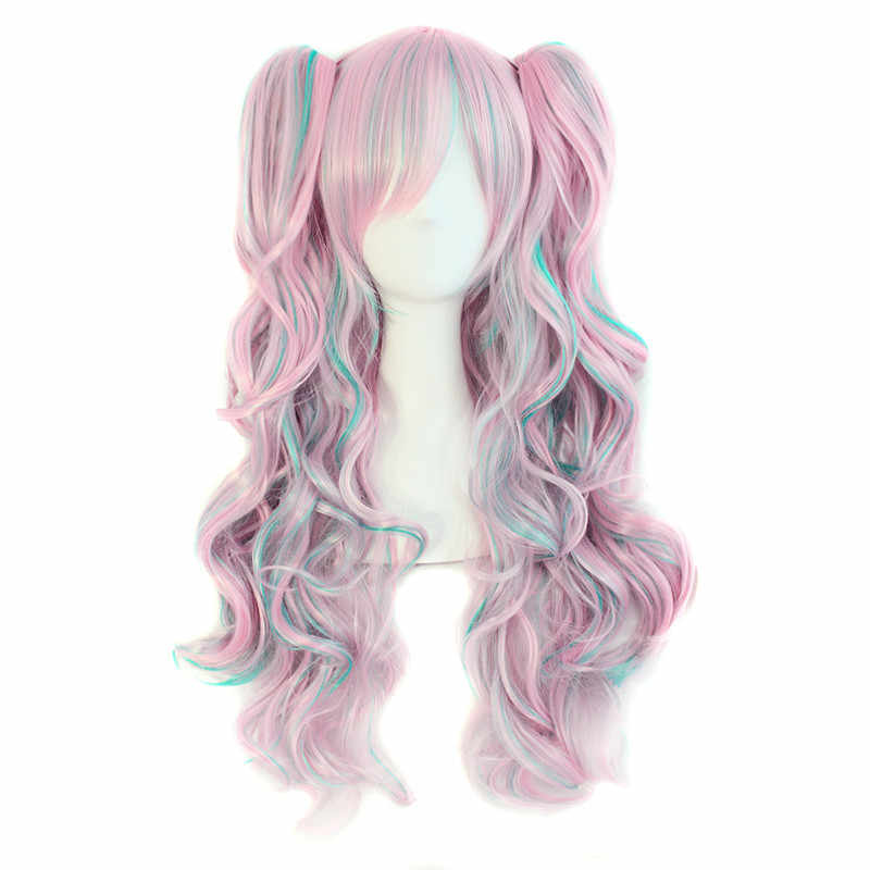 MapofBeauty long wavy cosplay wig purple pink ombre 12 colors two ponytails Synthetic hair Heat Resistant wigs for women