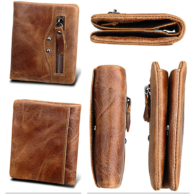 cow genuine leather short men walletr vintage zipper coin pocket protection bank credit card anti rfid driver license purse sale in Wallets from Luggage Bags