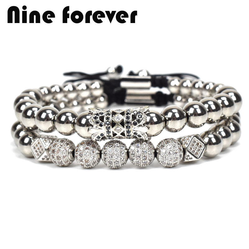 Nine forever Stainless Steel beads bracelet men jewelry MACRAME charms bracelets for women pulseira masculina bileklik new anil arjandas macrame bracelets 18pcs rose gold micro pave black cz stoppers beads braiding macrame bracelet for men jewelry