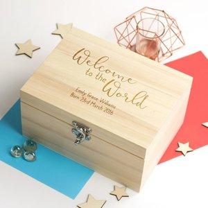 Персонализированная Коробка с текстовым именем, добро пожаловать в мир, новые детские деревянные воспоминания, bespoken Box, подарочные коробки, ...