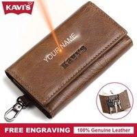 Kavis مدبرة المحفظة الرجل الدائري حالة جلد طبيعي حامل منظم حقيبة عملة جيب المفاتيح محفظة التفاف ل الحقيبة الذكية