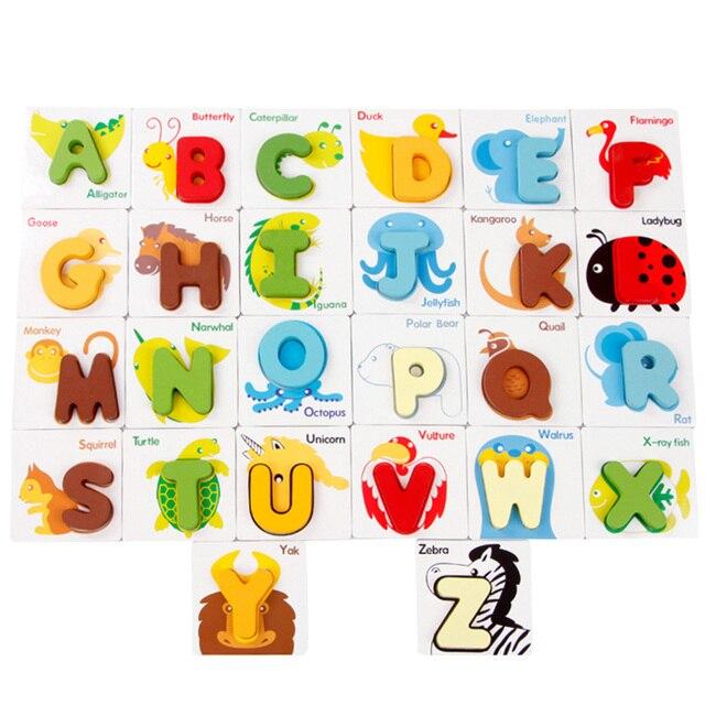 Деревянный ABC Алфавит Карты 3D Головоломки Форма Соответствия Игрушки Ребенка Дошкольного Буквы и Узоры Животных В Сочетании Головоломки