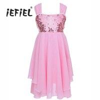 IEFiEL For 2 10Y Girls Chiffon Sequins Adjustable Shoulder Straps Ballet Dance Gymnastics Leotard Dress For