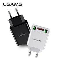 USAMS LED Display Dual USB Phone Charger EU US Plug The Max 2 2A Smart Fast