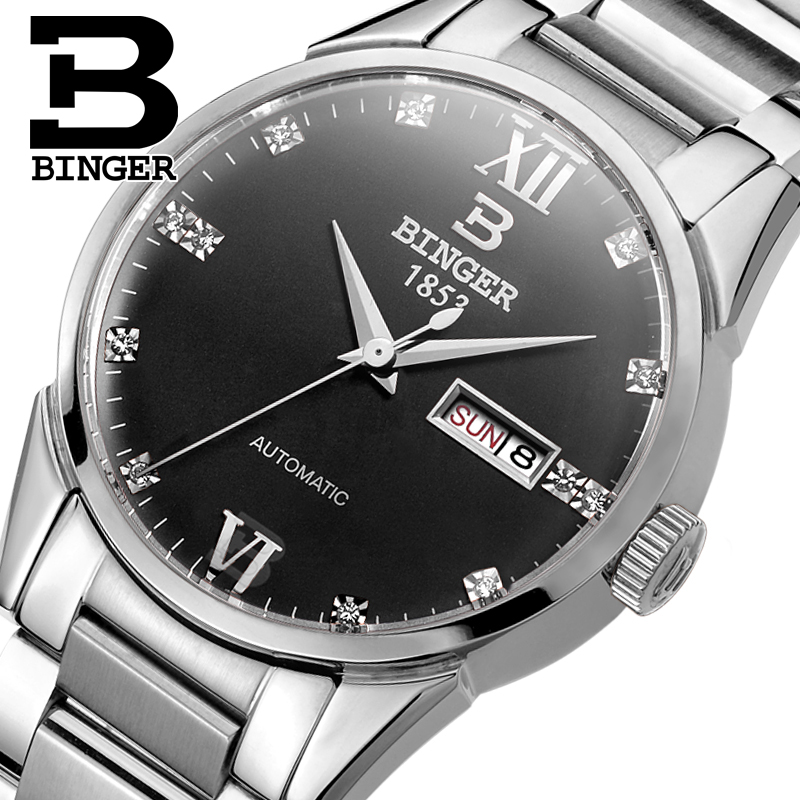 Switzerland men's watch luxury brand Wristwatches BINGER 18K gold Automatic self-wind full stainless steel waterproof  B1128-9 switzerland men s watch luxury brand wristwatches binger luminous automatic self wind full stainless steel waterproof b106 2