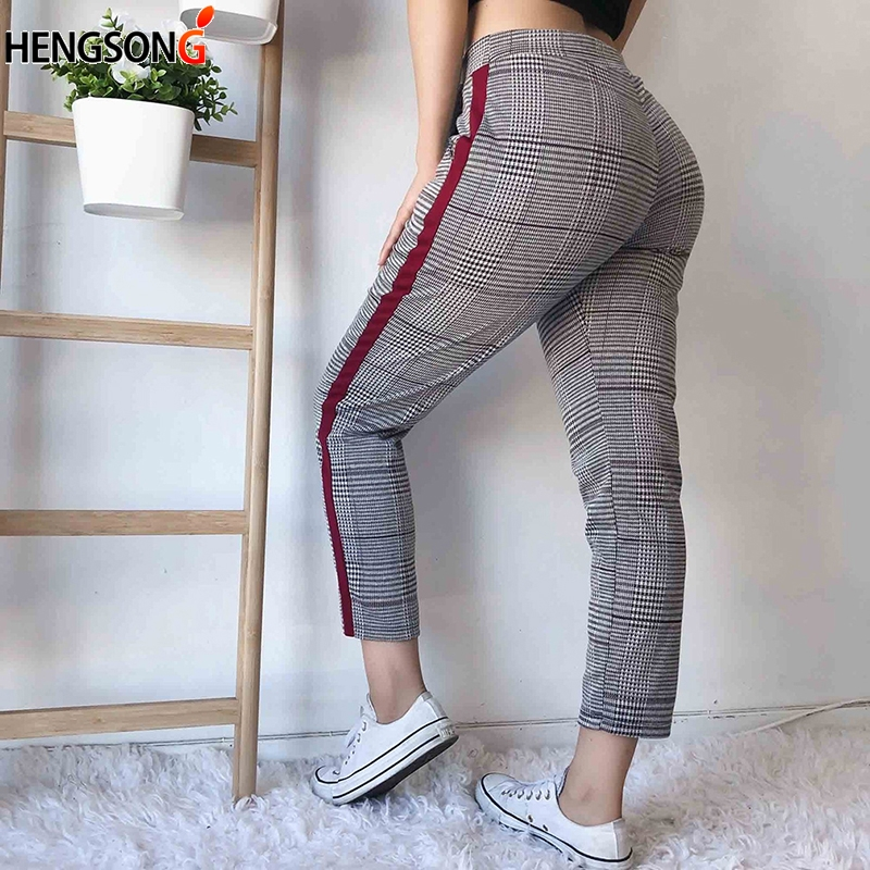Vintage Casual Plaid Harem Pants Women Elastic Waist Fashion Trousers Autumn Ankle-length Pants Female