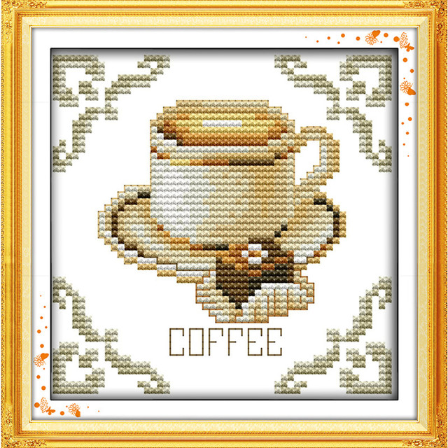 Canvas Painting Coffee And Dessert Chinese Counted Cross Stitch Patterns Kits With The Written