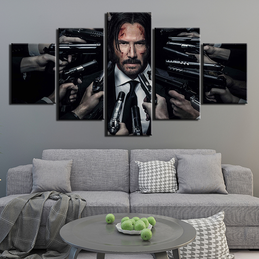 Modern HD Print Wall Art Canvas Picture 5 Pieces John Wick Painting Poster Decor