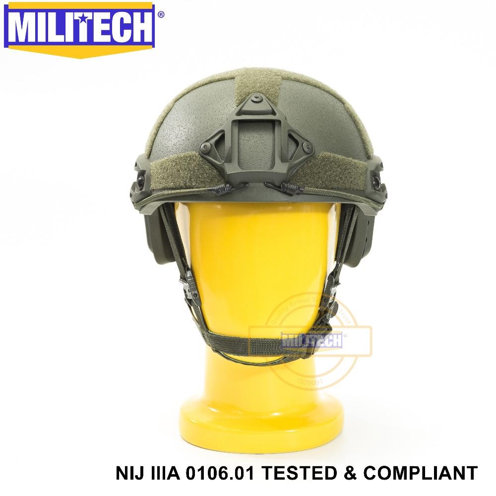 ISO Certifié MILITECH OD OCC Cadran NIJ Niveau IIIA 3A RAPIDE High Cut Aramide Balles Balistiques Casque Avec 5 Ans garantie