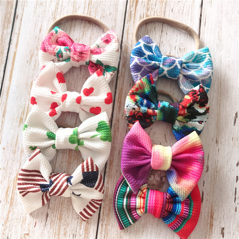 40pcs/lot Baby Headband 5inch Bow Baby Girl Headbands Bandeau Bebe Fille Baby Turban Nylon Baby Bows Headband For Girls