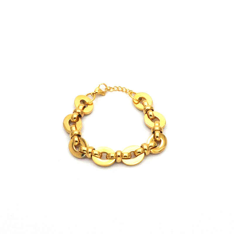 simple women bracelet jewelry wholesale stainless steel bracelet gold color personalized design charm bracelet for giftsBr042037