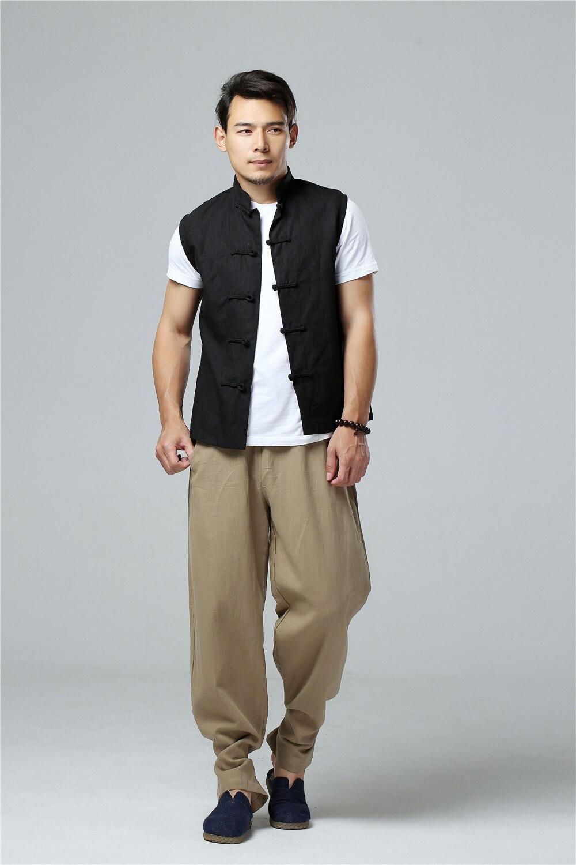 LZJN 2019 Men's Summer Waistcoat Chinese Style Vintage Breathable Linen Button Down Kung Fu Shirt Sleeveless Vest Jacket  (33)