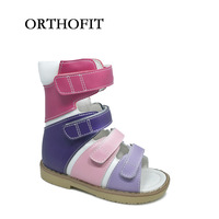 2017 Fashionable Buckle Strap School Footwear Printing Leather Orthopedic Shoes For Kids