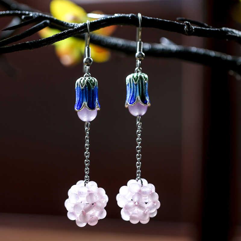 SA SILVERAGE Drop Earrings Woman Original Jade Earrings Beautiful Cloisonne Weaving Creative Grape Ball Chinese Characteristics