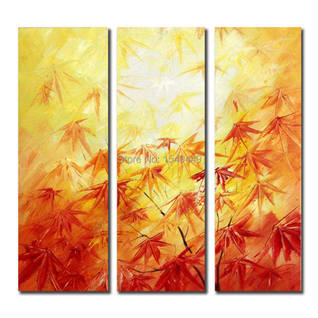 100% Hand Painted Abstract yellow red Maple leaves Painting Oil On ...