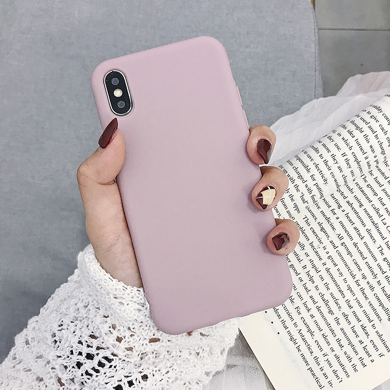 Image 5 - Solid Color Silicone Couples Cases For iphone 7 8 6 6S Plus X XS XR XS Max Cute Candy Color Soft Simple Fashion Phone Case-in Fitted Cases from Cellphones & Telecommunications