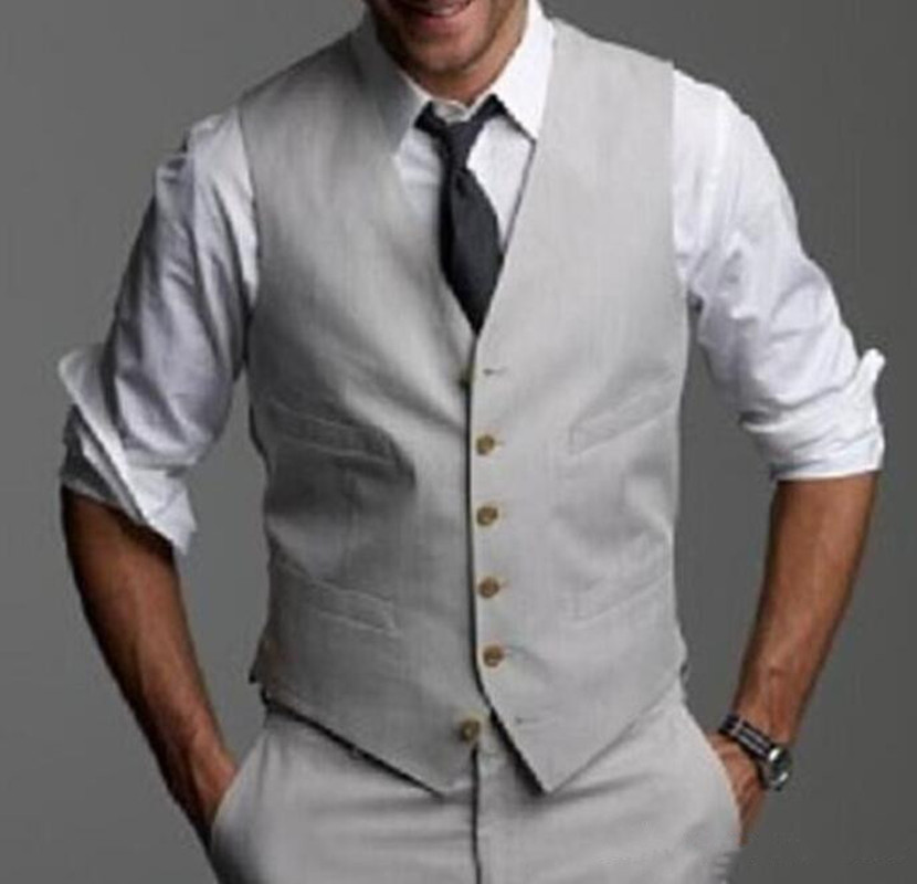 New Light Gray Wedding Groom Vests 2018 Custom Made Slim Fit Normal Mens Vest Groomsmen Tuxedos Wedding Suits