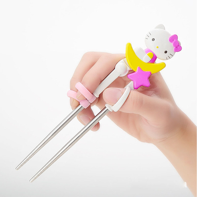 Cartoon Hello Kitty Kids Children Learning Training Chopsticks Or Spoon Baby  Enlightenment Chopsticks Or Spoon Kids