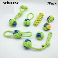 Seven pieces Combination Pet Toys Cotton Rope Knot Ball Teeth Molars Colorful Non toxic Grinding Teeth Chewing Dog Toy