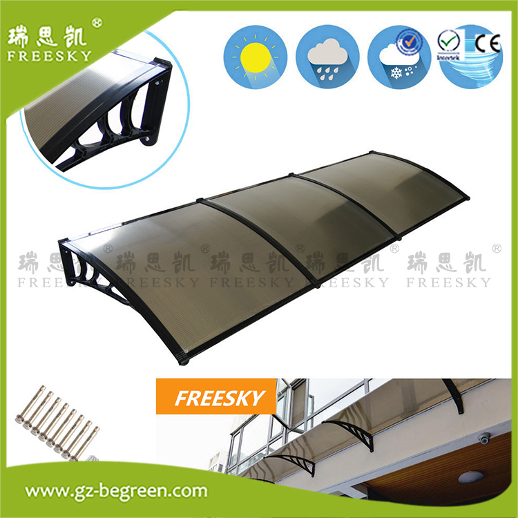 YP100300 100x200cm 100x300cm 100x600cm sunshade awnings entrance door canopy rain canopies black awning polycarbonate awning
