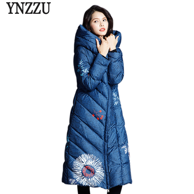 High Quality 2018 New Winter Jacket Women Elegant Print Long Style 90% White Duck Down Coat Hooded Thicken Warm Outwears AO743