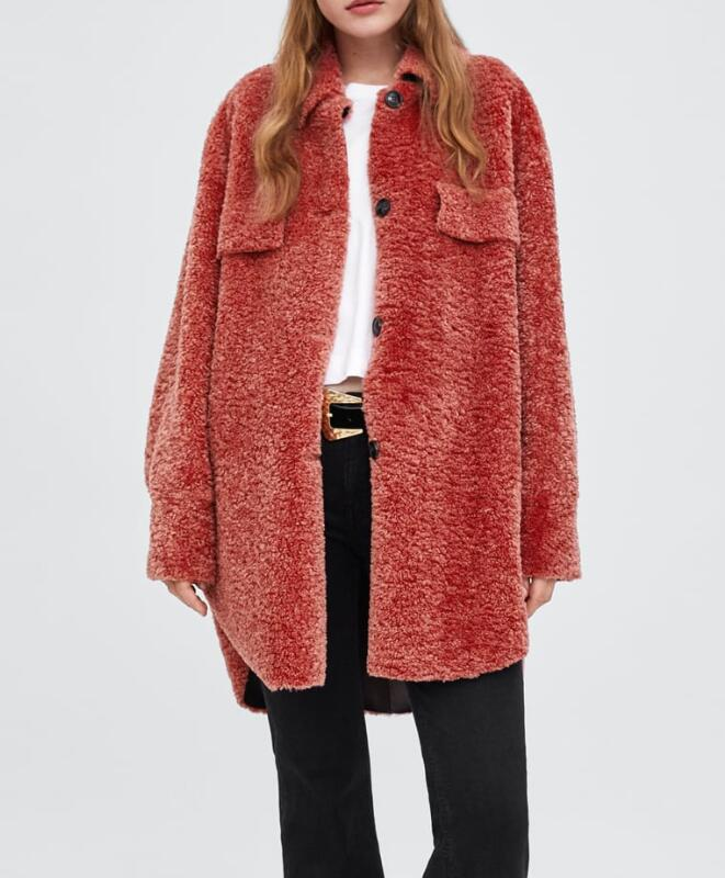 d114328e3e3 PINK FAUX SHEARLING OVERSHIRT Long sleeve collared Oversized Jacket  button-up flap pocket side vents