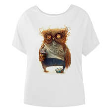 Abstract Owl Funny Design Womens Print Batwing Sleeve T Shirt Summer Top Quality Batwing Sleeves Women T shirt Polyester Tee
