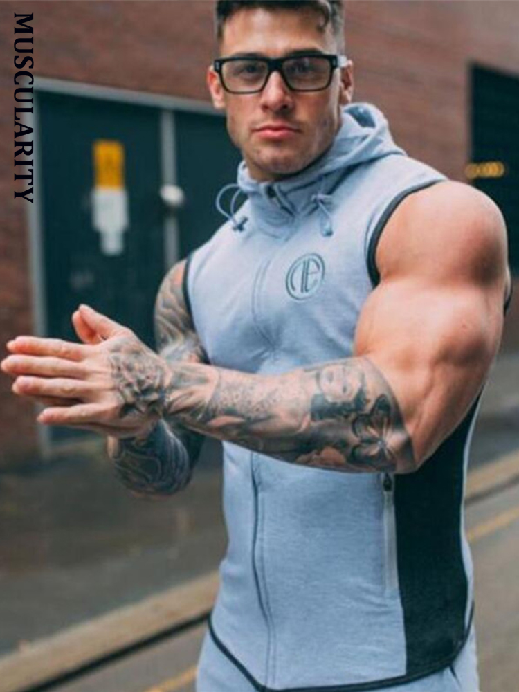 MUSCULARITY 2017 Autumn Fashion gyms Hoodie   Tank     Tops   Men sleeveless Slim Sweatshirts Male bodybuilding Solid Casual   Tank     Tops