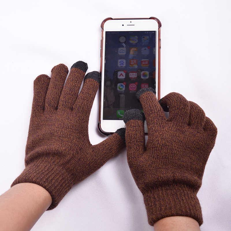 Warme Man Winter Glover Gebreide Handschoen Met Rubber Dot Anti-slip Hand Touch Screen Mittens Man Thicken Wol Tactiele screen Handschoenen