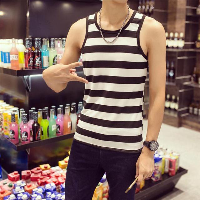 Men's New Fashion Casual Summer Slim Vest Men Sleeveless Round Collar Stripe Pattern Elastic Casual Tops Shirt