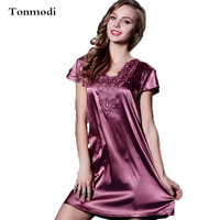 Women's Sexy Silk Sleepwear Nightgown Short sleeve Silk Thin Summer Nightgowns Loose Sleep Wear Nightshirts