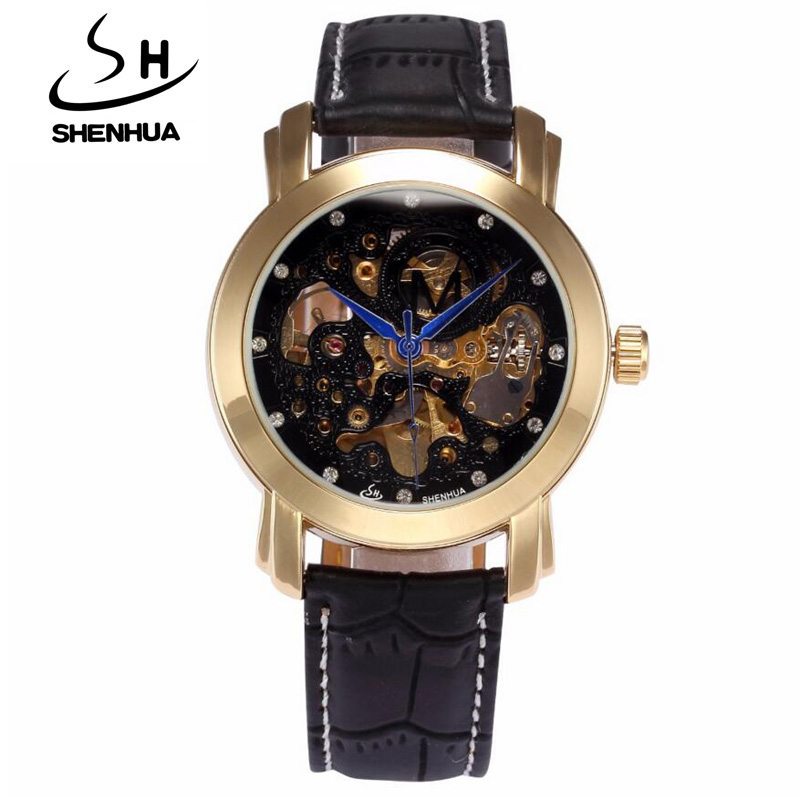 1debe582a شينهوا رجل الساعات top ماركة فاخرة جلدية الشريط التلقائية الميكانيكية  الهيكل العظمي ساعات رجالية أزياء الرجال اللباس ساعة اليد هدية