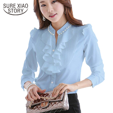 2015 Spring Autumn Good quality Women Blouses Long Sleeve Slim Ruffles Chiffon Top Women Shirts Beading chiffon tops 682D 20(China)