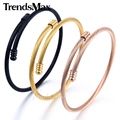 Trendsmax Rose Gold Plated Stainless Steel Twisted Rope Cuff Bangle Elegant Womens Girls Bracelet Wristband KG189-KG191