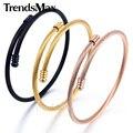 Trendsmax rose plateó el acero inoxidable de la cuerda trenzado brazalete brazalete elegante muchachas para mujer pulsera de la pulsera kg189-kg191