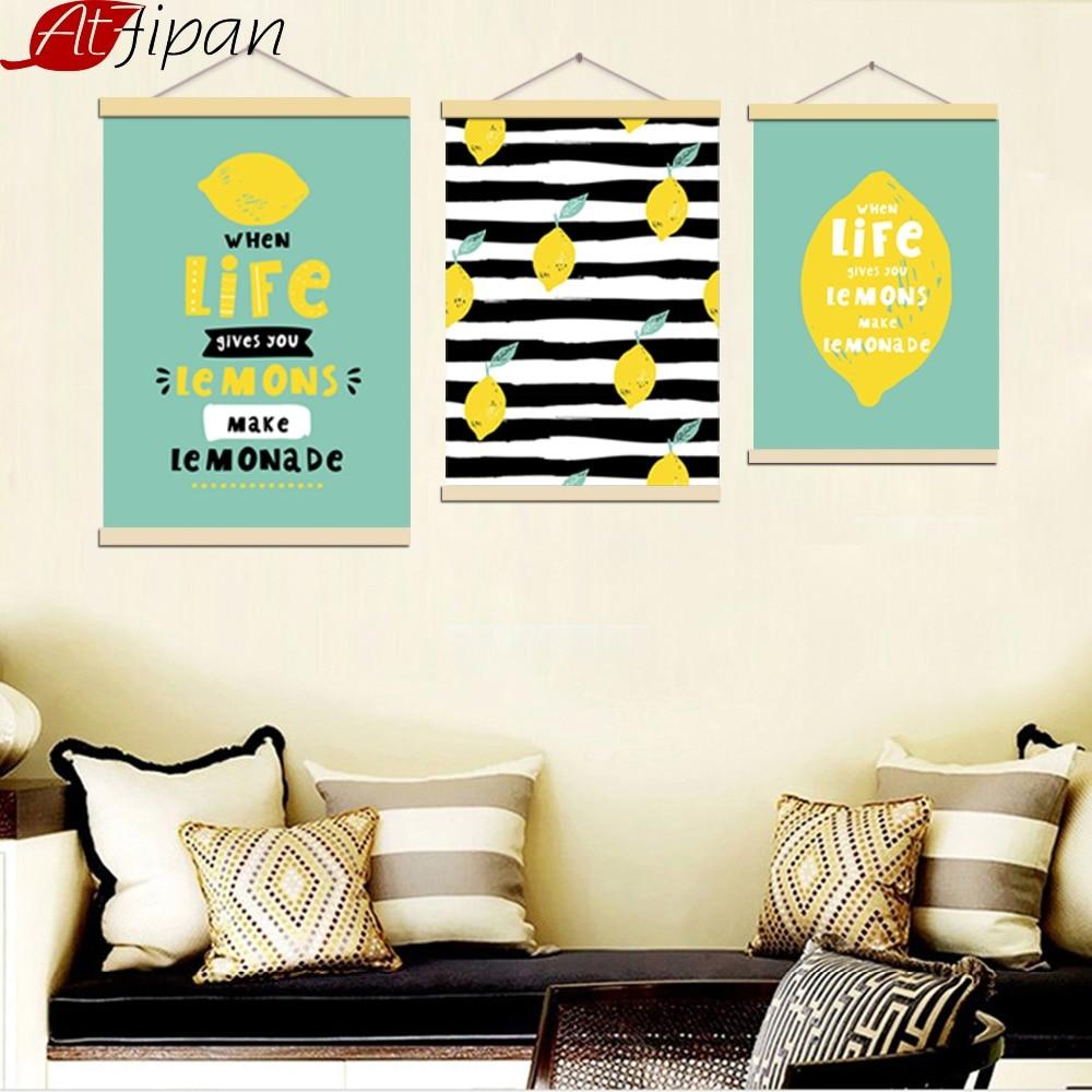 Atfipan Ingelijste cartoon citroenen canvas schilderij decoratieve - Huisdecoratie