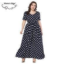 cb845fc6e98 Кромки воды 2018 Мода 6XL 7XL плюс Размеры Лето Для женщин миди длинное  платье завязывается на талии кушак Половина рукава женск.