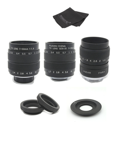 Fujian 3in1 CCTV Lens 25mm f1.4 Lens/ 35mm f1.7 Lens/ 50mm f1.4 Lens Mount Ring Kit for Olympus Panasonic Micro 4/3 M4/3 M 4/3 цена
