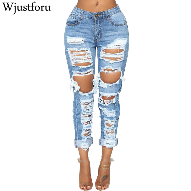 Wjustforu Sexy Ripped Jeans Women Bodycon Fashion Club Hole Denim Pants Female Summer Casual Hollow Out Pencil Jeans Vestidos