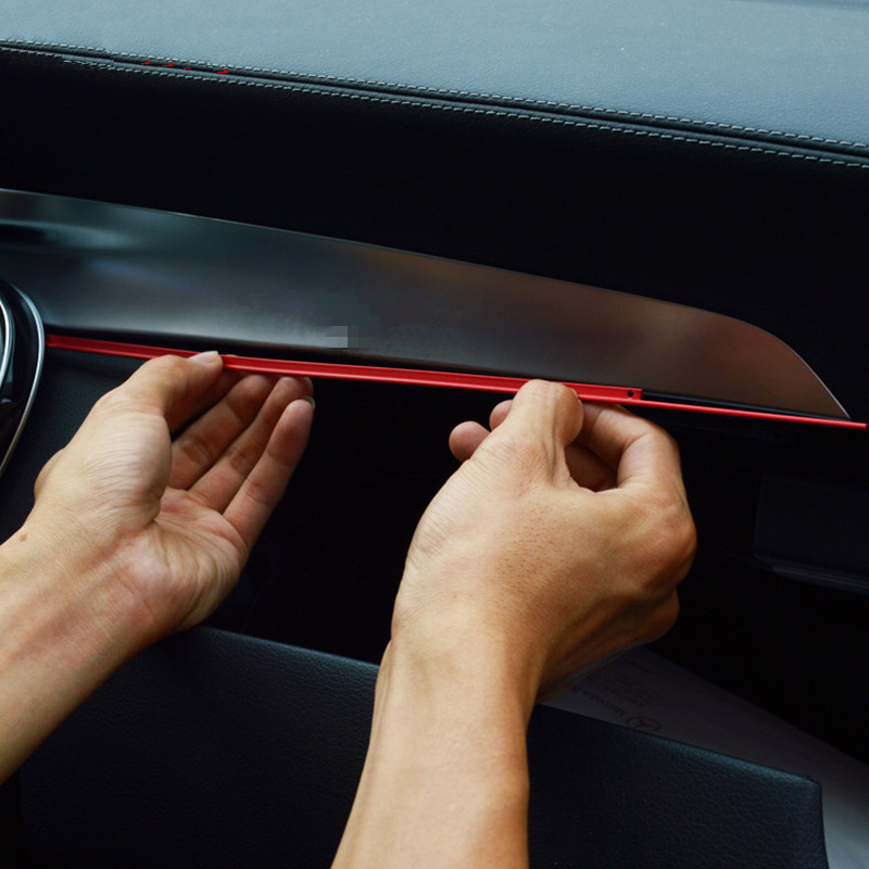 Red Center Console Co pilot Trim Strip For Mercedes Benz C Class W205 GLC X205 2015 2018 LHD Aluminium Alloy|strip decoration|red trim|w205 cover - title=