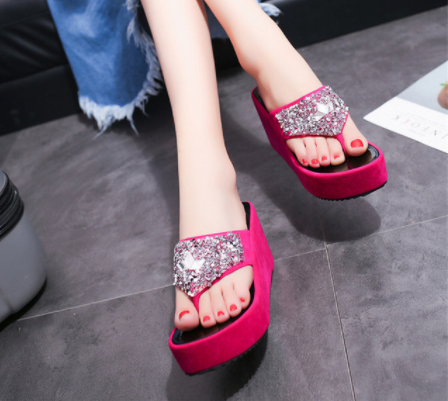 Slippers Sandals Platform-Shoes Flip-Flops Outdoor Women's with Thick-Soled Sequins Beach