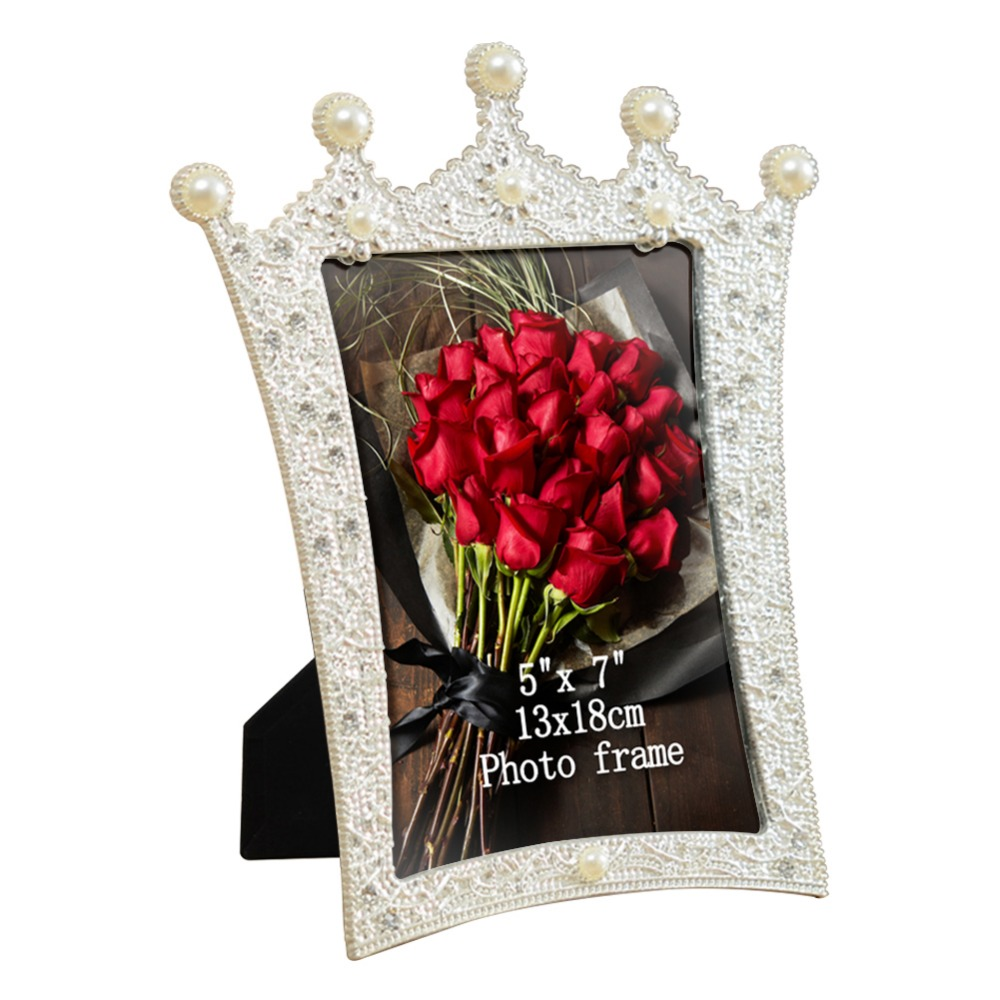 Giftgarden 5x7 Silver Alloy Classic Crown Photo Frames Vintage Picture Frame Table Decoration Anniversary Gift Wedding decor