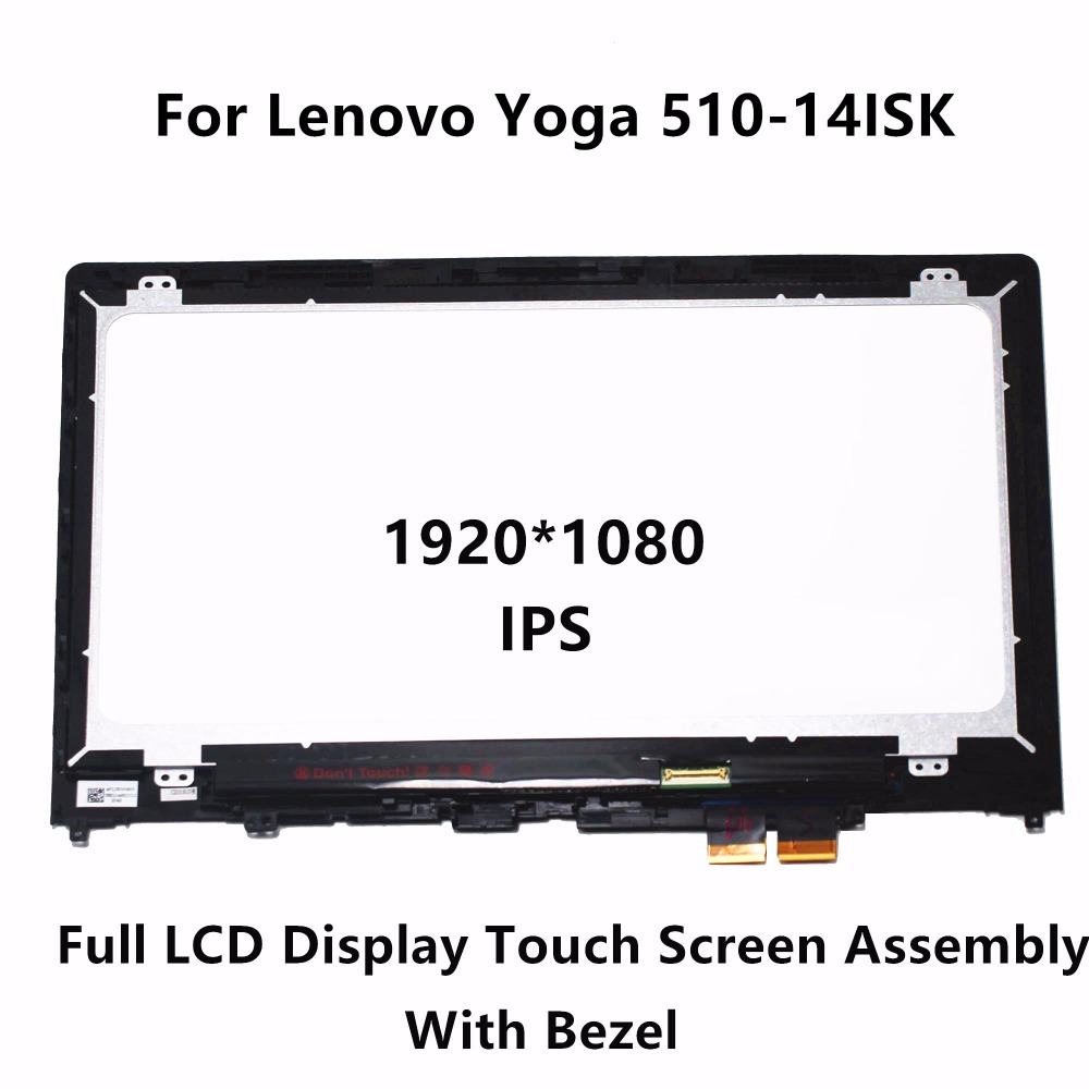 14 Touch Panel Glass Digitizer + IPS LCD Screen Display Assembly+Bezel LP140WF6 SPB1 for Lenovo Yoga 510-14ISK 80S7 80S700FQIX for lenovo yoga tablet 2 1050 1050f 1050l new full lcd display monitor digitizer touch screen glass panel assembly replacement