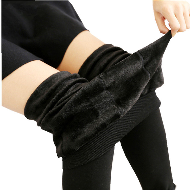 Hot Sale Winter Fleece Lined Leggings Cold Proof Trousers For Women Female Ladies Warm Extra Thickness Slim Leggins 520g H708