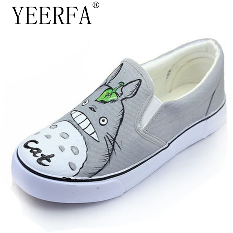 YEERFA 2017 Autumn Women Hand Painted Canvas Shoes Cartoon Casual Flats Loafers Slip on Platform Creepers Size 35-44 loafers women cartoon loafers 2015 casual canvas flats shoesladies trifle thick soled creepers footwear mujer zapatos