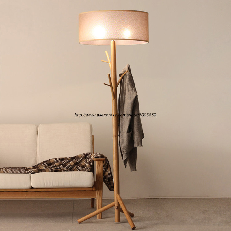 Antique Wood Tree Floor Lamp Bedroom Living Room Coat Rack Beside ...