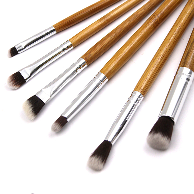 6pcs Bamboo Handle Eye Makeup Brushes Professional Flat Angled Brush Pincel Maquiagem Cosmetics Make Up Brushes Set Hairbrush 2