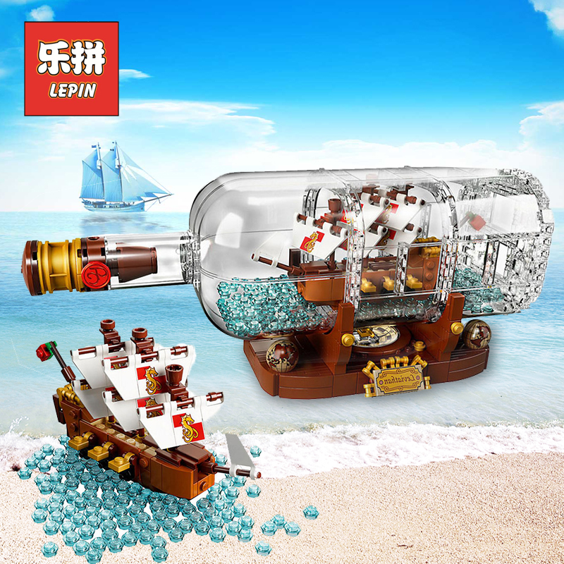 2018 New Lepin 16051 Movie Series the 21313 Ship in a Bottle Set Building Blocks Bricks Creator Toys Kid Children Birthday Gifts lepin 16051 1078pcs movie series the 21313 pirate ship in a bottle set building blocks bricks toys birthday gifts