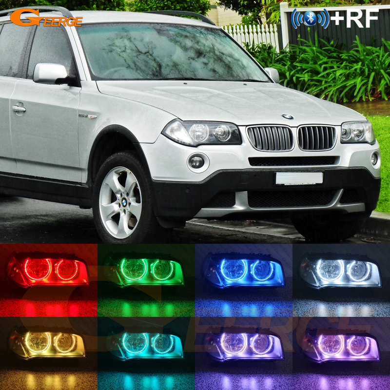 For BMW E83 X3 2007-2010 Halogen headlight RF Bluetooth Controller Multi-Color Ultra bright RGB LED Angel Eyes Halo Ring kitFor BMW E83 X3 2007-2010 Halogen headlight RF Bluetooth Controller Multi-Color Ultra bright RGB LED Angel Eyes Halo Ring kit
